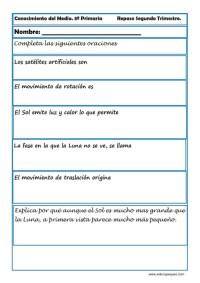Fichas Conocimiento del medio tercero primaria 2 trimestre 02