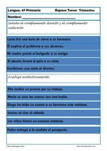 ejercicios lengua sexto primaria 20