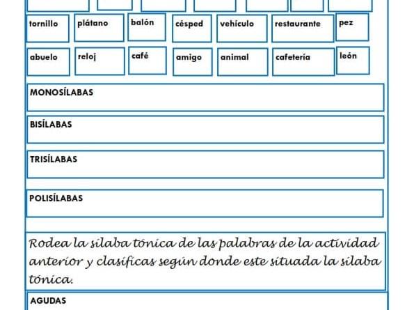 Ejercicios De Lengua Para Niños De Primaria Para Imprimir – Fondos ...