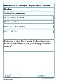 fichas matemáticas sexto primaria 03