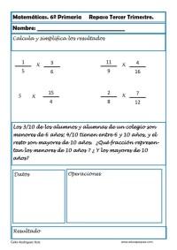 fichas matemáticas sexto primaria 23