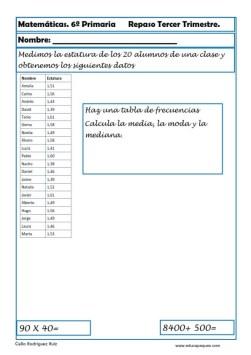 fichas matemáticas sexto primaria 24
