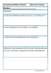 Fichas Conocimiento del medio tercero primaria 3 trimestre 04