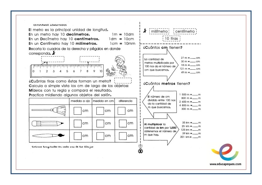 unidades de medida, longitud, volumen, masa, matemáticas, primaria, ejercicios matemáticas