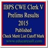 IBPS CWE Clerk V Prelims Results 2015 published