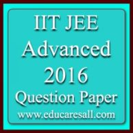 IIT JEE Advanced 2016 question paper answer keys