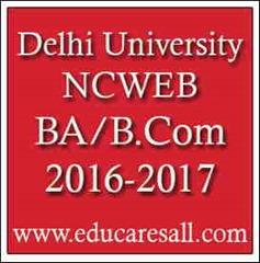 Delhi University NCWEB Under Graduate Admission  2016