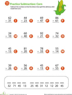 2 Digit Subtraction