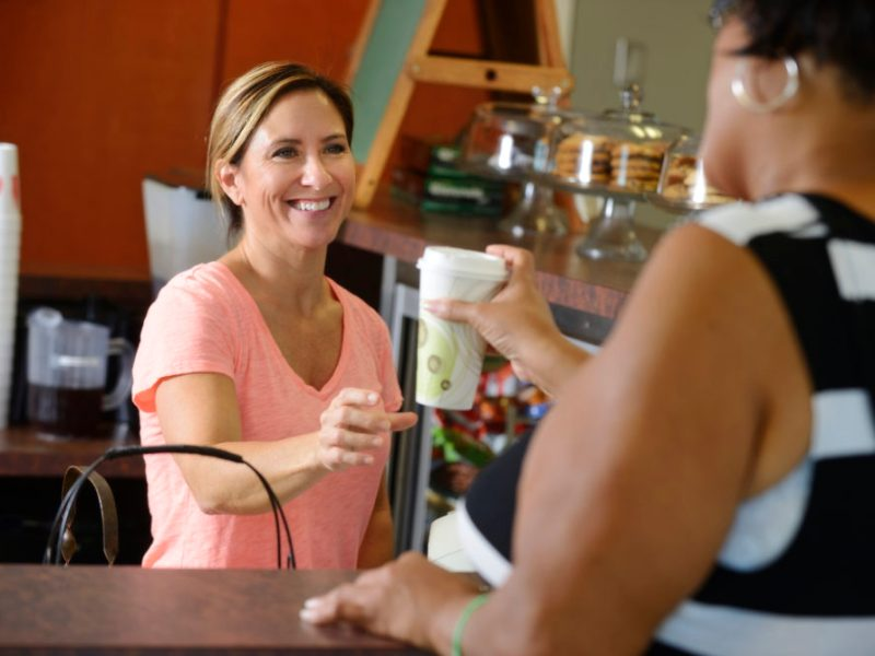Patron buying a drink from the RHEC on-site café.