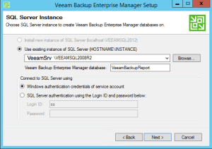 10 - Select Veeam Backup Enterprise Manager Database
