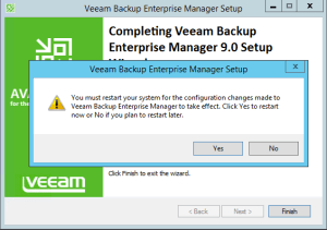 15 - Reboot needed after installation of Veeam Backup Enterprise Manager
