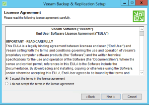 20 - Accept the EULA for Veeam Backup and Replication v9