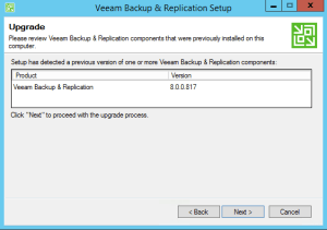 21 - Confirmation of the current version to be upgraded to Backup and Replication v9