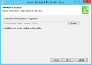 22 - Provide licence key for Veeam Backup and Replication v9
