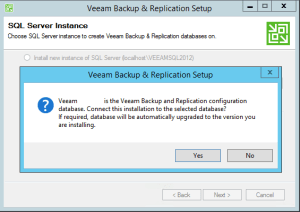 25 - Confirm upgrade of current database for Veeam Backup and Replication v9