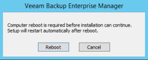 4 - Veeam needing to reboot server after prereq
