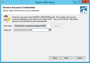 40 - Veeam ONE v9 enter Service Account password