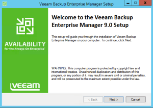 8 - Veeam install Backup Enterprise Manager