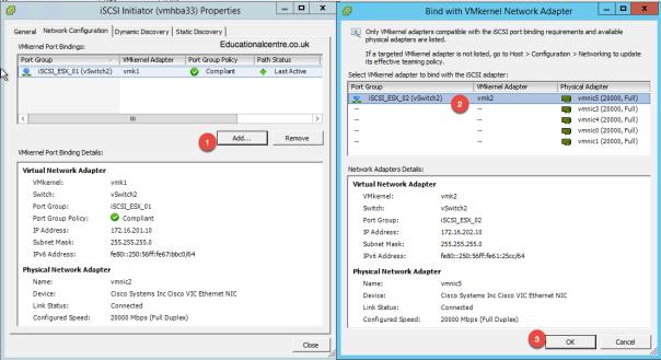 Add VMKernel iSCSI Port Bindings to iSCSI Software Adapter