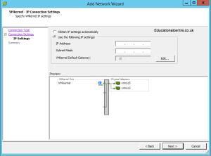 Setting up IP Address for the VMKernel