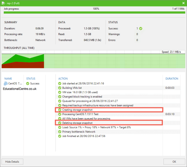 Veeam and Nimble Storage Integration - Replicating from a Snapshot- Job Status