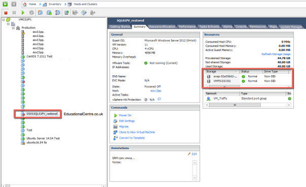 Veeam and Nimble Storage Integration - Restoring from Snapshot - Instant VM Recovery - Recovered VM in vCenter