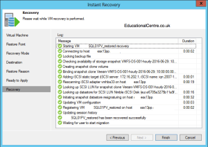 Veeam and Nimble Storage Integration - Restoring from Snapshot - Instant VM Recovery - Recovery Session