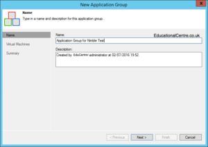 Veeam and Nimble Storage Integration - SureBackup - Application Group