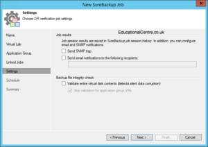 Veeam and Nimble Storage Integration - SureBackup - Create SureBackup Job - Job Settings