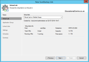 Veeam and Nimble Storage Integration - SureBackup - Create SureBackup Job - Virtual Labs