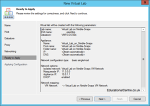 Veeam and Nimble Storage Integration - SureBackup - Setting up a Virtual Lab - Finalise Configuration