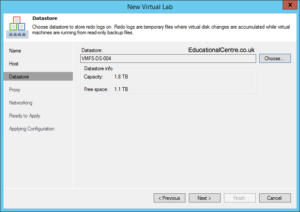 Veeam and Nimble Storage Integration - SureBackup - Setting up a Virtual Lab - Select Datastore