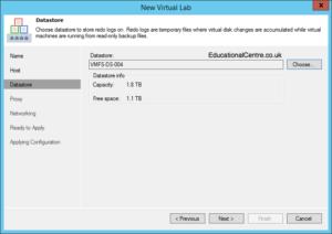 Veeam and Nimble Storage Integration - SureBackup - Setting up a Virtual Lab - Select Datastore