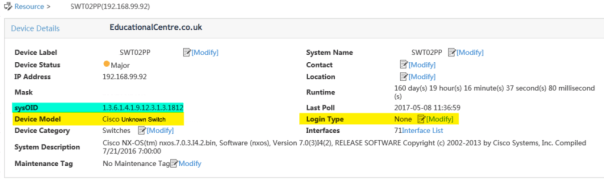 HP IMC Cisco Unknown Switch SYSOID