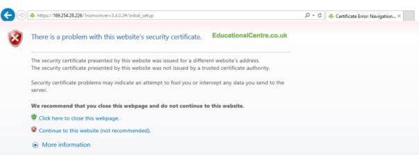 Nimble SFA setup accept ssl cert error to continue
