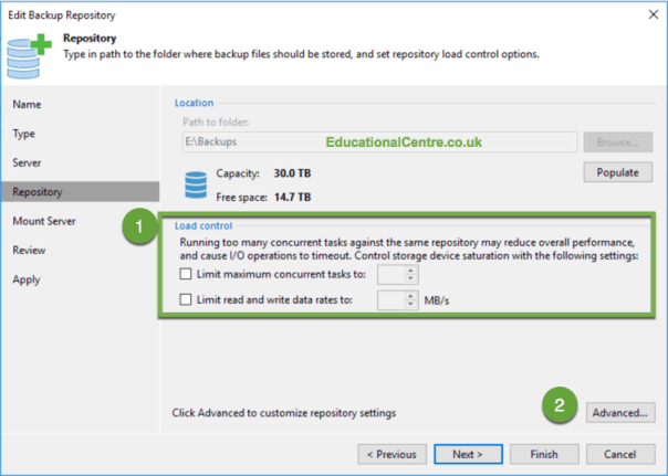 Veeam Nimble Storage Integration Backup Repository Load Control Settings