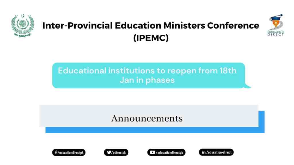 Educational institutions to reopen from 18th Jan in phases