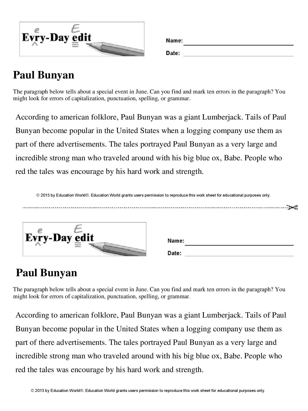 Paul Bunyan Worksheet 2nd Grade