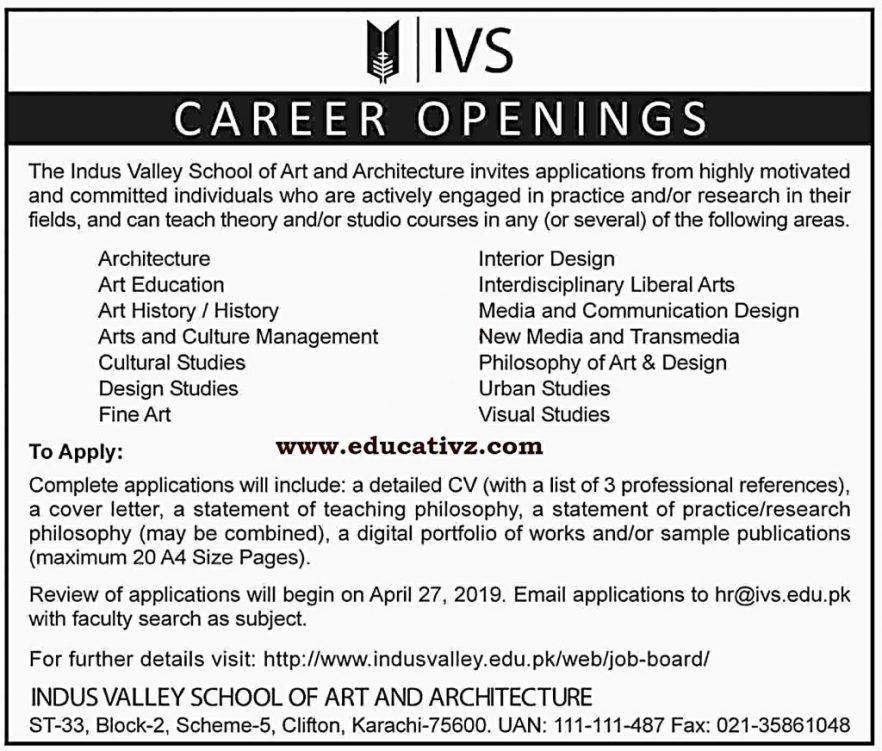 Indus Valley School of Art and Architecture Karachi Jobs 2019