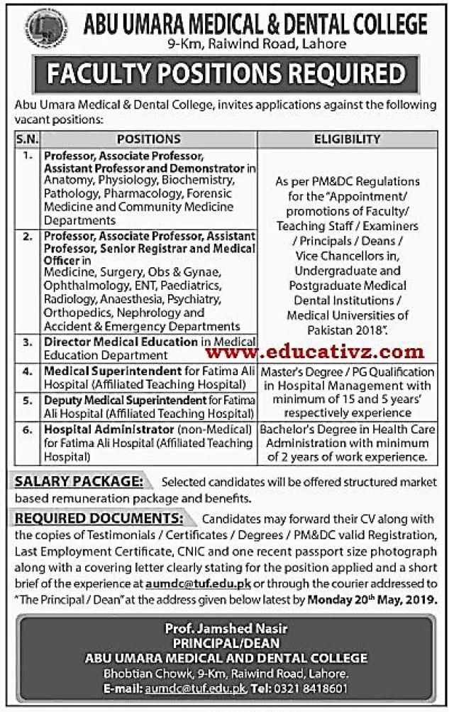 Medical and Dental College Jobs 2019 Lahore Teaching Faculty
