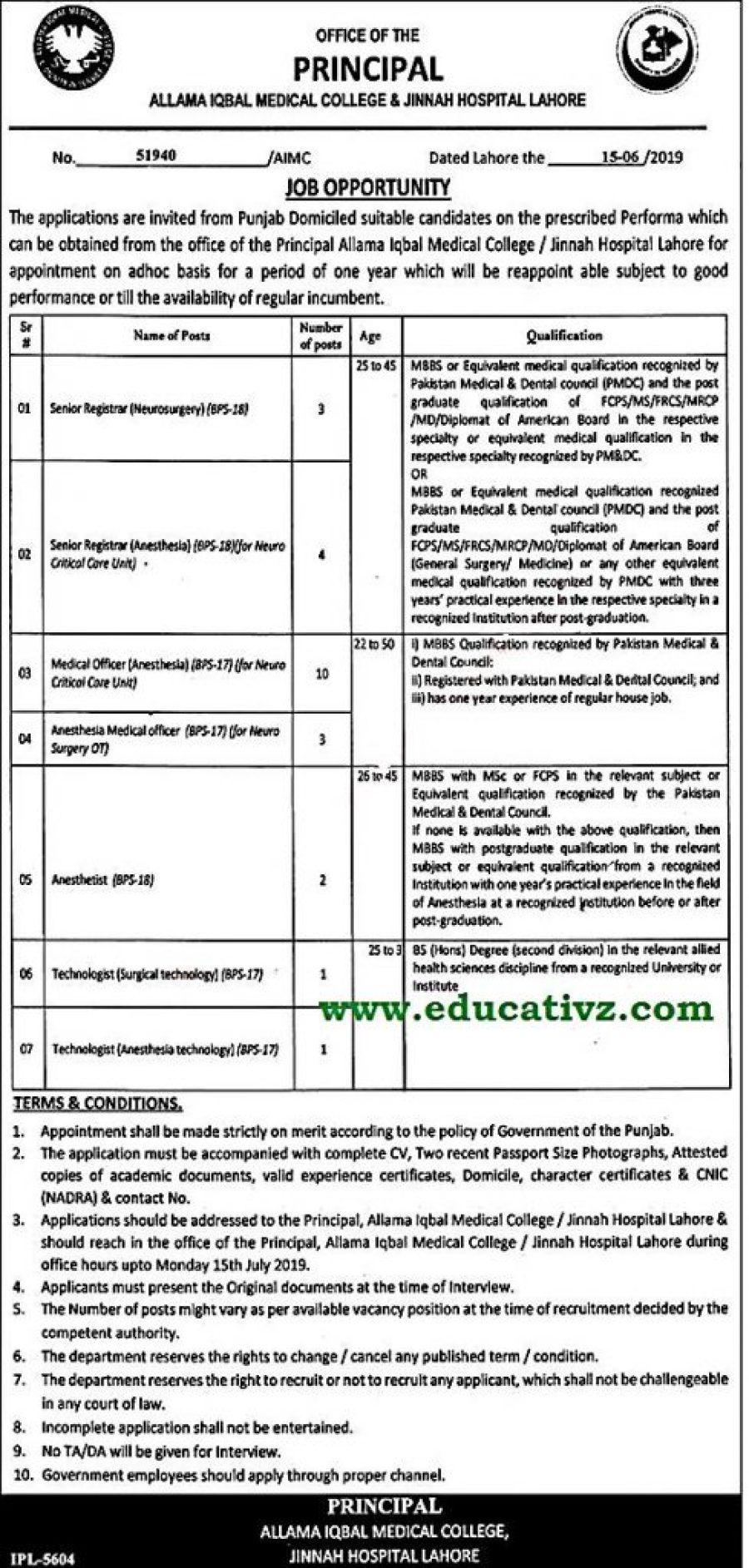 Jinnah Hospital Jobs 2019