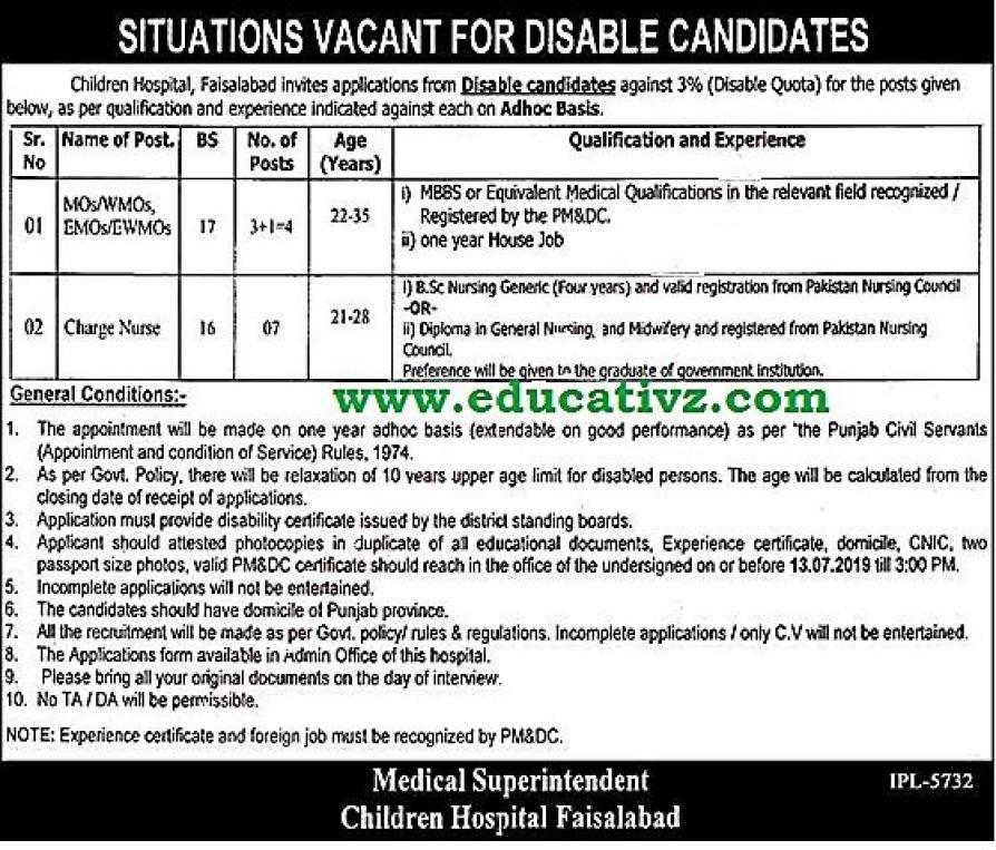 Children Hospital Faisalabad  Jobs 2019