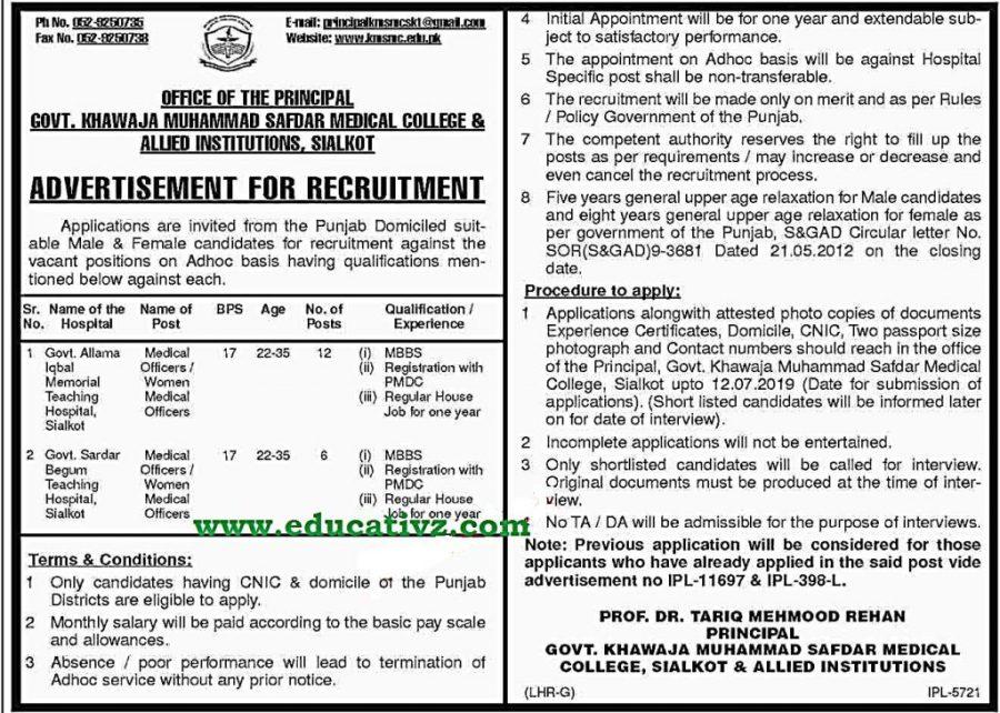 Medical Officer Jobs 2019 Sialkot