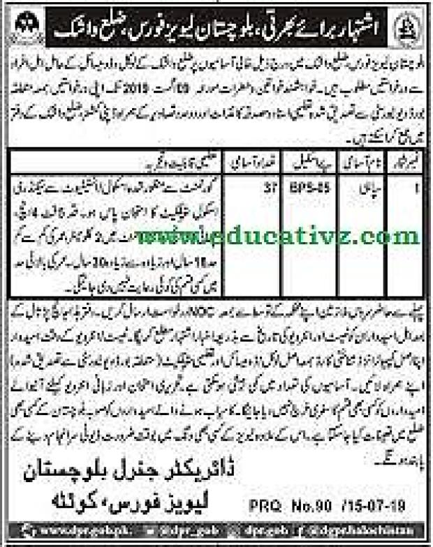 Balochistan Levies Forces Sipahi Jobs