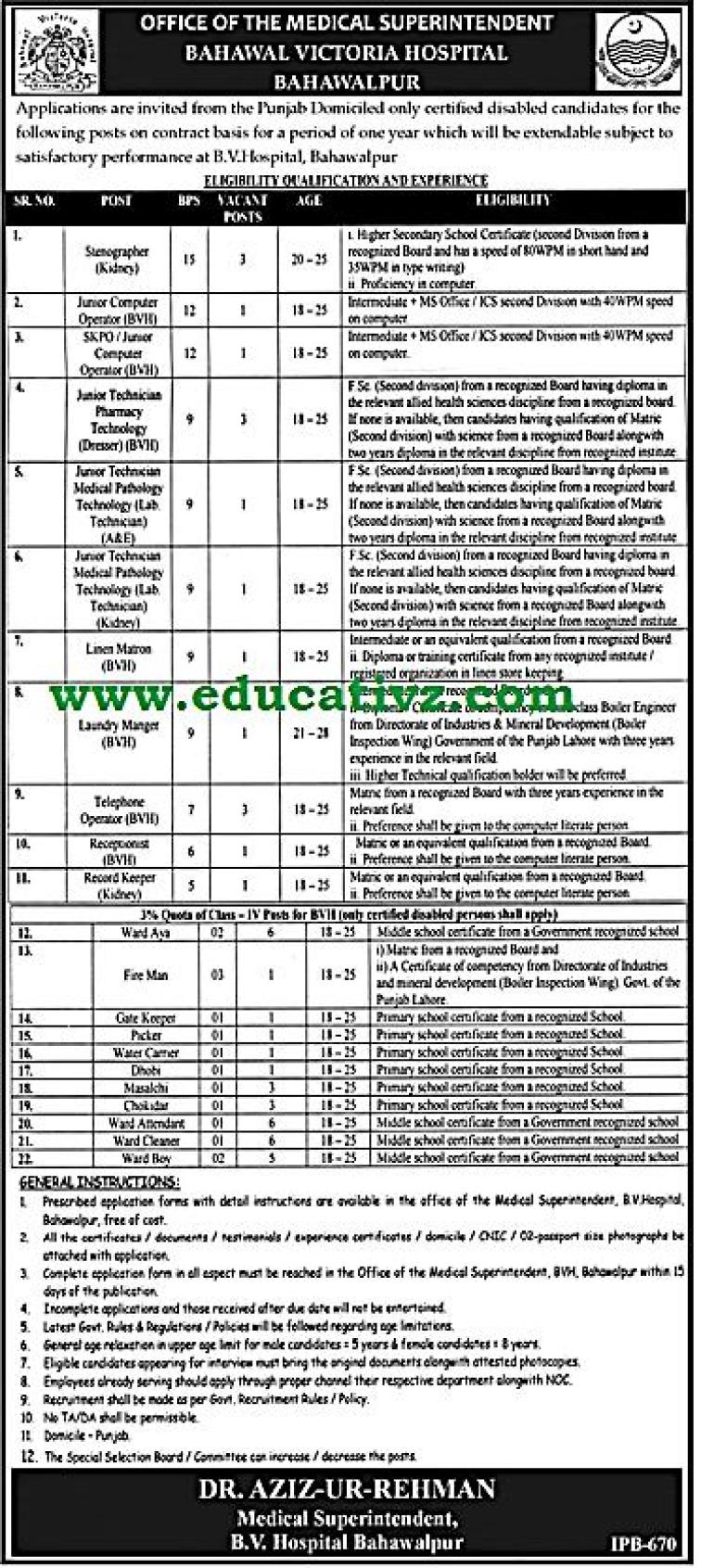 Jobs in Bahawal Victoria Hospital