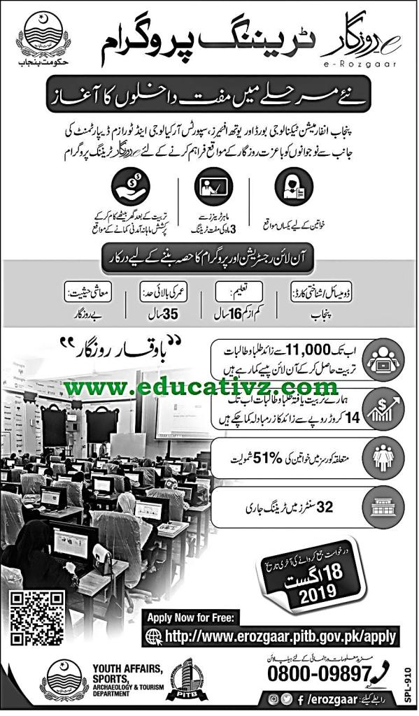 E Rozgaar Training Program Punjab 2019