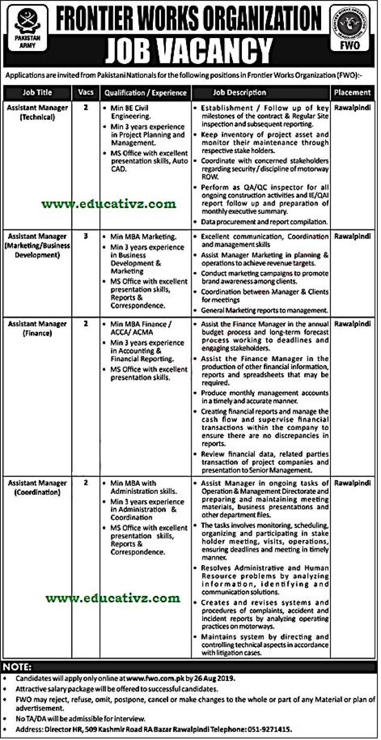 FWO Jobs 2019 Assistant Manager