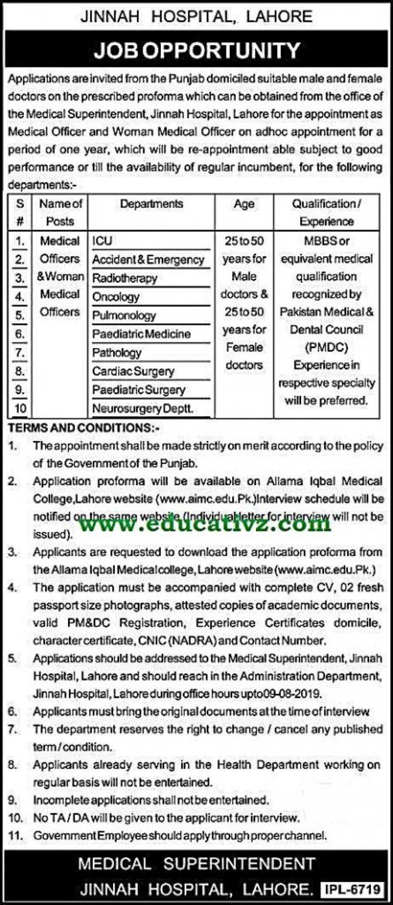 Jobs in Jinnah Hospital Medical Officers 2019