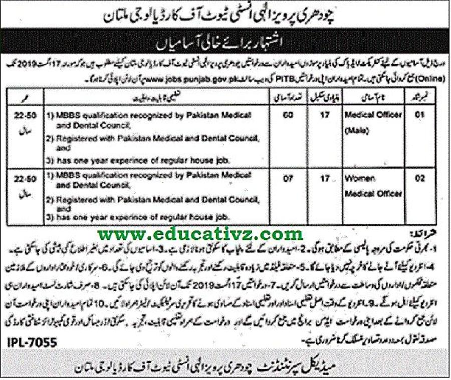 Medical Officer Jobs Cardiology Multan