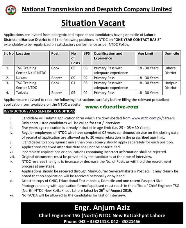 NTDC Jobs 2019 Punjab and KPK